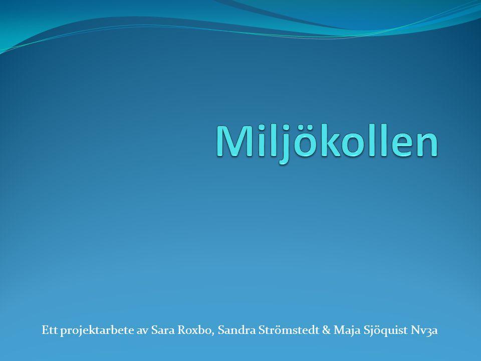 Miljökollen Ett projektarbete av Sara Roxbo, Sandra Strömstedt & Maja Sjöquist Nv3a
