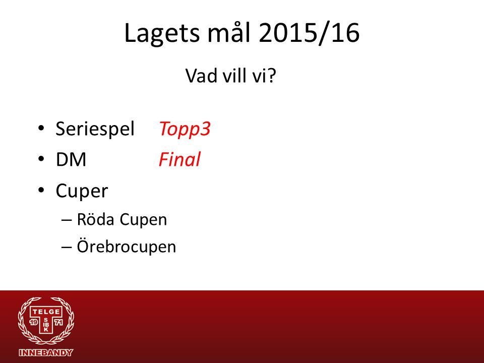 Lagets mål 2015/16 Vad vill vi Seriespel Topp3 DM Final Cuper