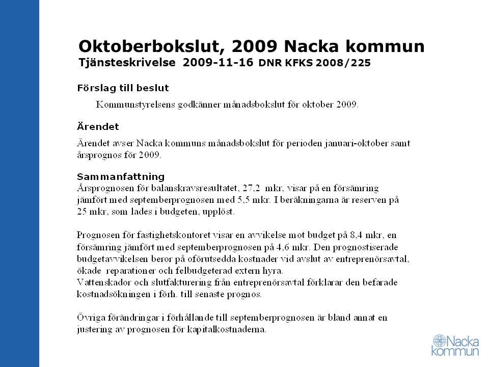 Oktoberbokslut, 2009 Nacka kommun Tjänsteskrivelse 2009-11-16 DNR KFKS 2008/225