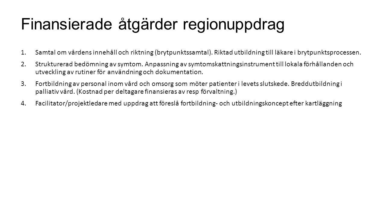 Finansierade åtgärder regionuppdrag