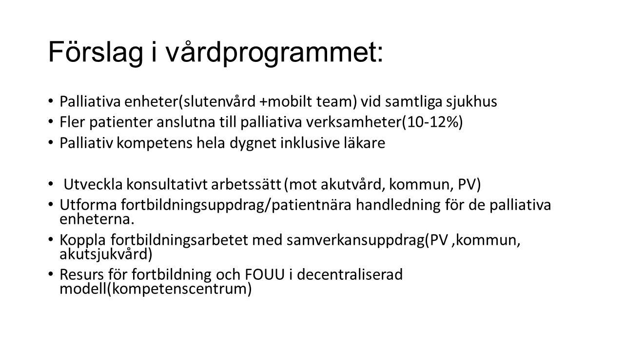 Förslag i vårdprogrammet: