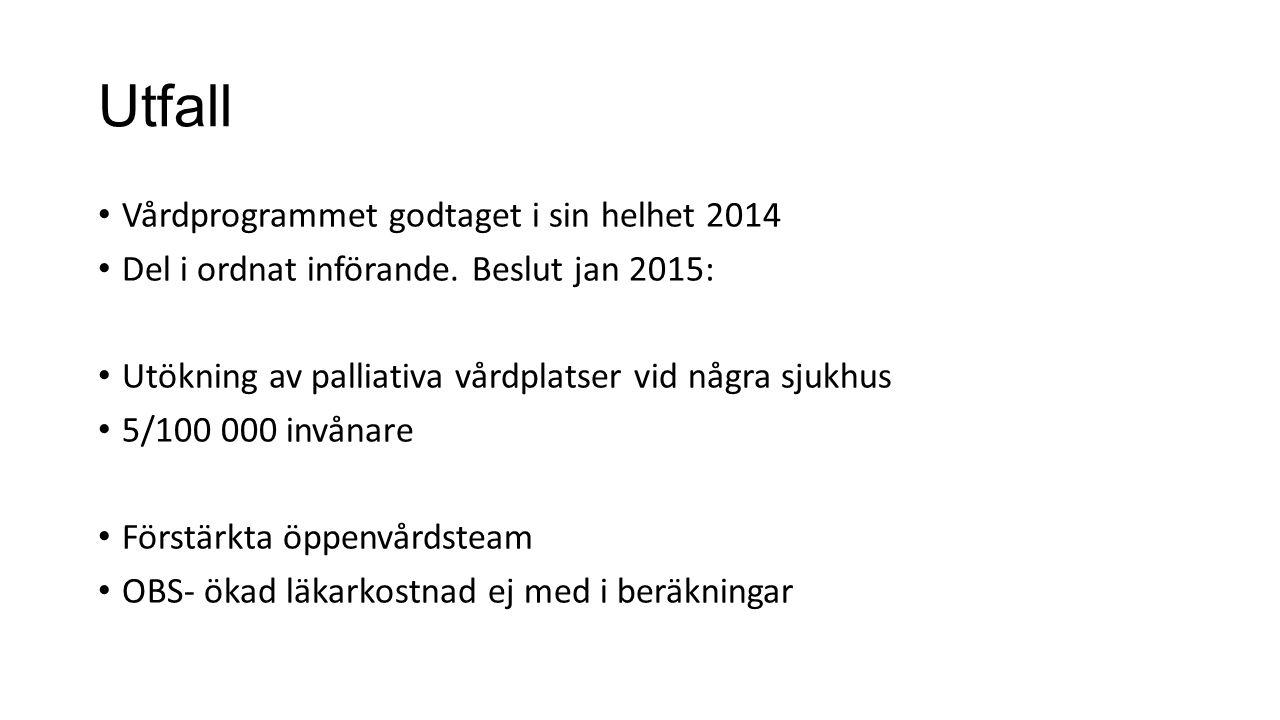 Utfall Vårdprogrammet godtaget i sin helhet 2014