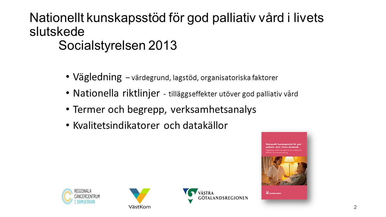 Nationellt kunskapsstöd för god palliativ vård i livets slutskede