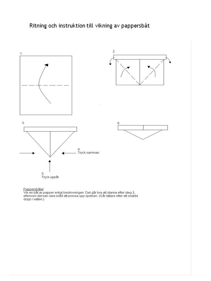 Ritning och instruktion till vikning av pappersbåt