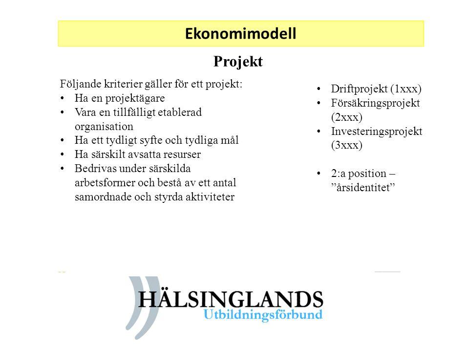 Ekonomimodell Projekt Följande kriterier gäller för ett projekt: