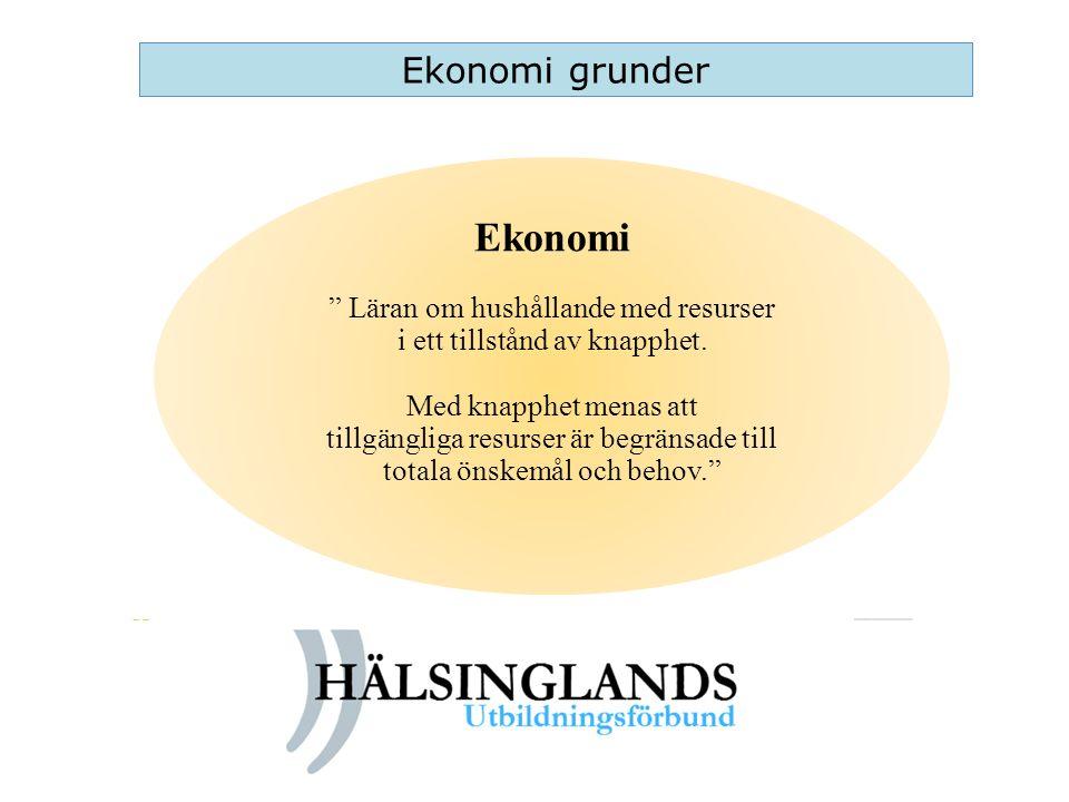 Ekonomi Ekonomi grunder Läran om hushållande med resurser