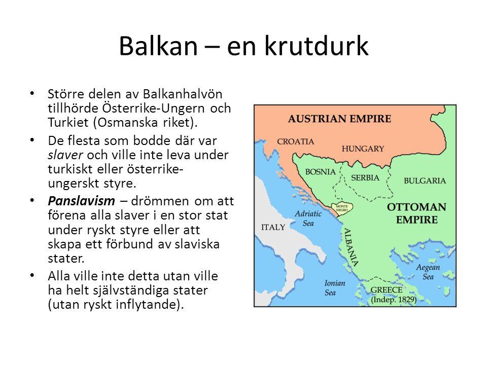 Balkan – en krutdurk Större delen av Balkanhalvön tillhörde Österrike-Ungern och Turkiet (Osmanska riket).