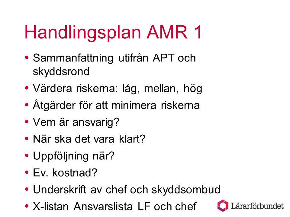 Handlingsplan AMR 1 Sammanfattning utifrån APT och skyddsrond