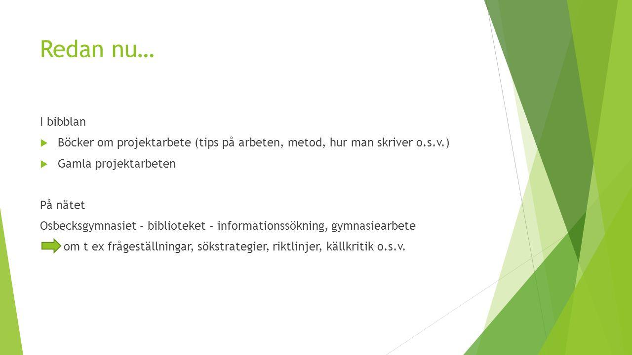 Redan nu… I bibblan. Böcker om projektarbete (tips på arbeten, metod, hur man skriver o.s.v.) Gamla projektarbeten.