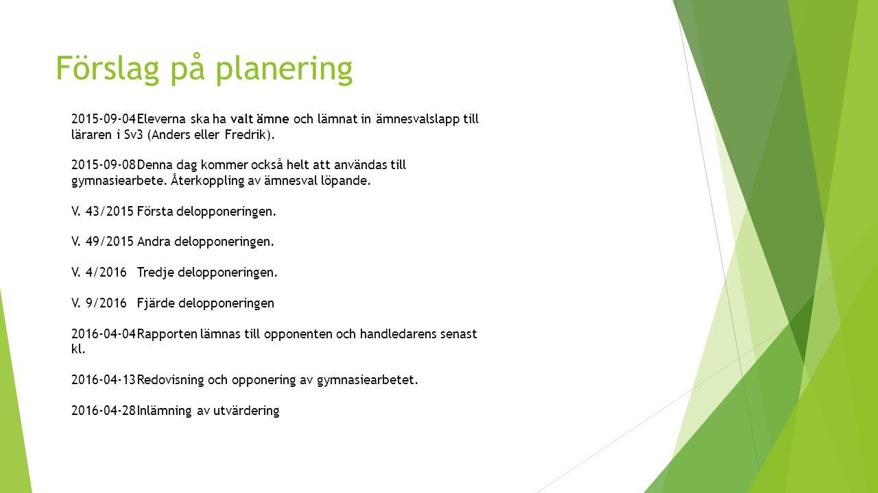 Förslag på planering 2015-09-04 Eleverna ska ha valt ämne och lämnat in ämnesvalslapp till läraren i Sv3 (Anders eller Fredrik).