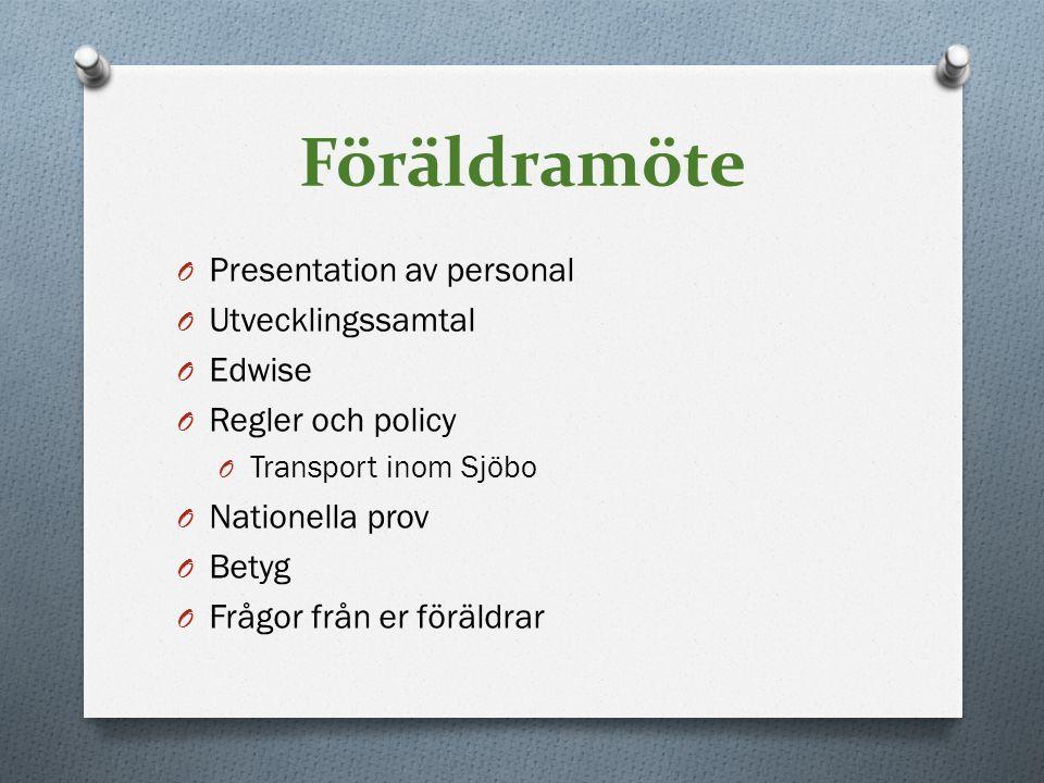 Föräldramöte Presentation av personal Utvecklingssamtal Edwise
