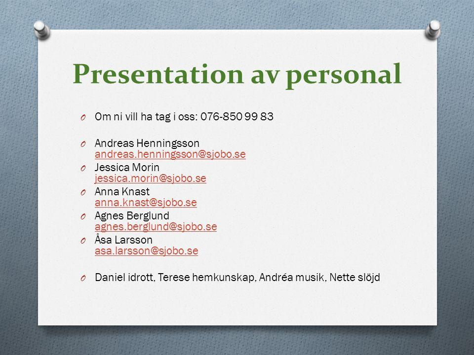 Presentation av personal