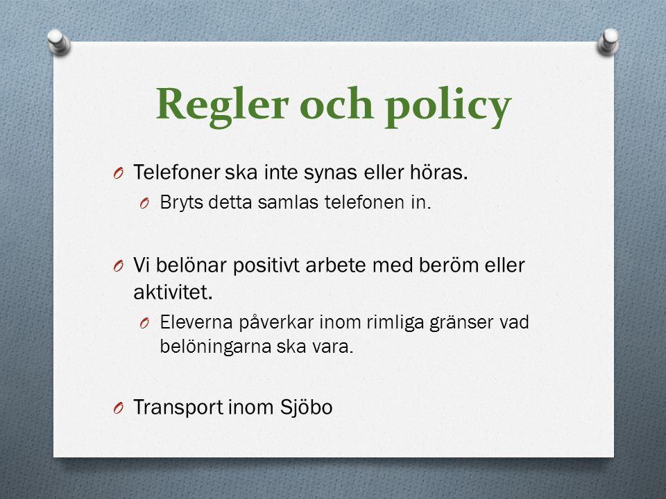 Regler och policy Telefoner ska inte synas eller höras.