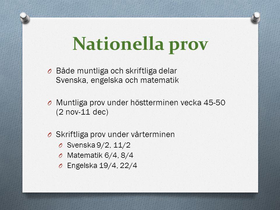 Nationella prov Både muntliga och skriftliga delar Svenska, engelska och matematik. Muntliga prov under höstterminen vecka 45-50 (2 nov-11 dec)