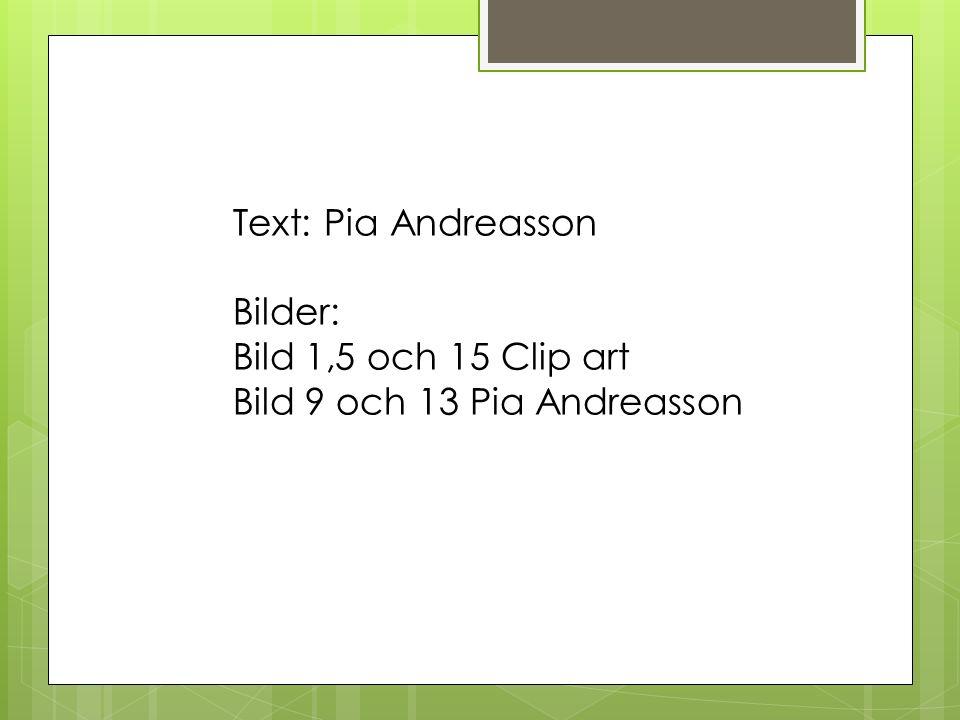 Text: Pia Andreasson Bilder: Bild 1,5 och 15 Clip art Bild 9 och 13 Pia Andreasson