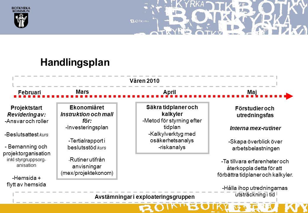 Handlingsplan Våren 2010 Februari Mars April Maj Projektstart