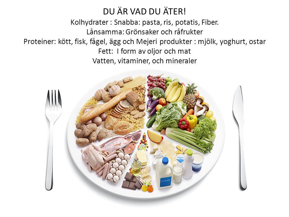 DU ÄR VAD DU ÄTER. Kolhydrater : Snabba: pasta, ris, potatis, Fiber