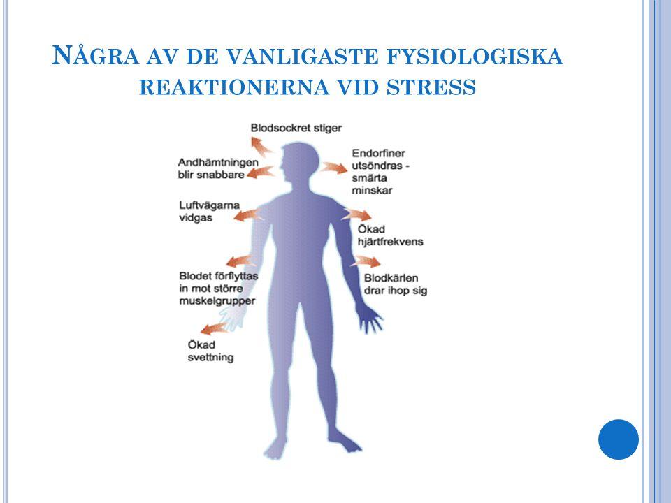 Några av de vanligaste fysiologiska reaktionerna vid stress