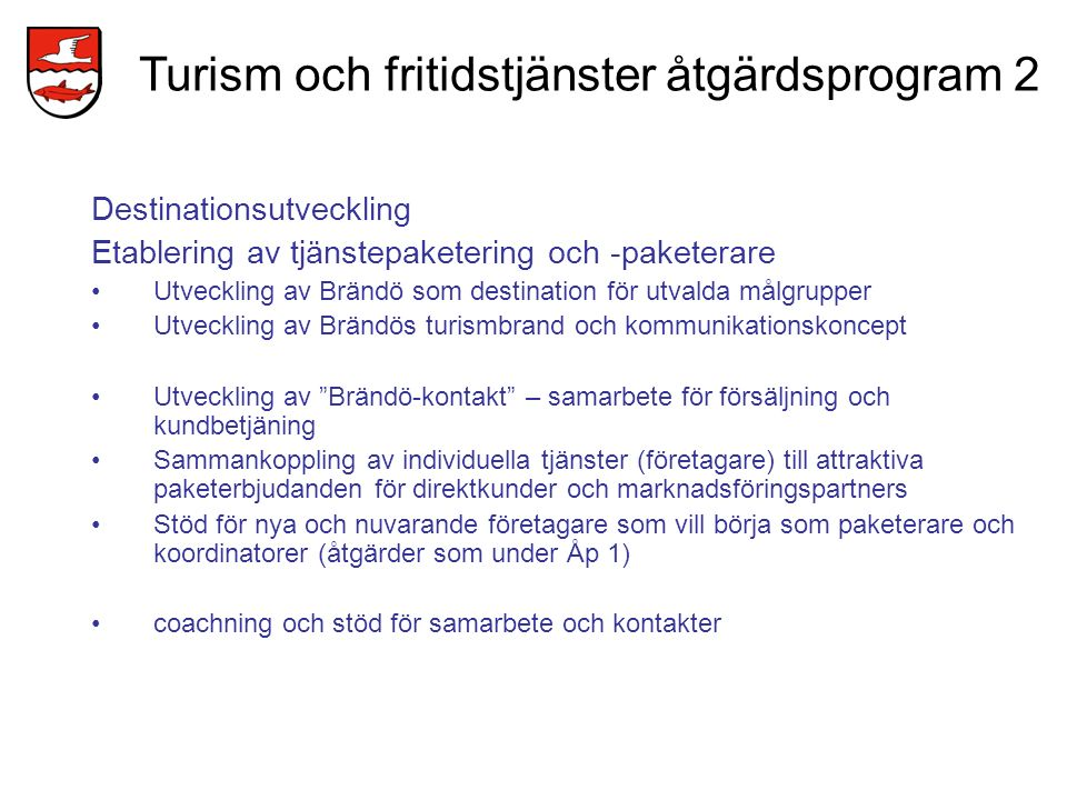 Turism och fritidstjänster åtgärdsprogram 2