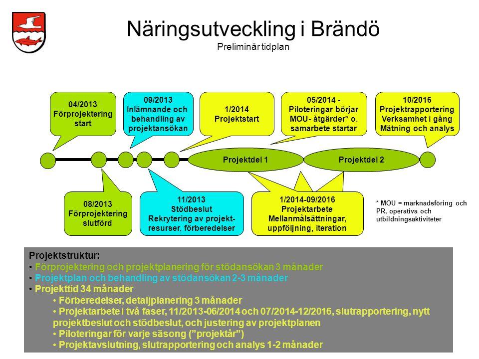 Näringsutveckling i Brändö Preliminär tidplan
