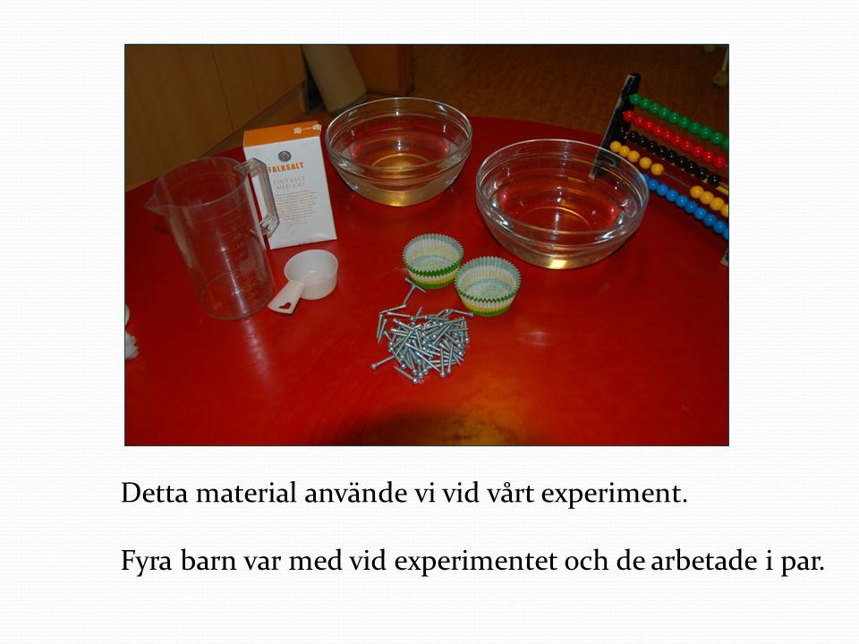 Detta material använde vi vid vårt experiment.