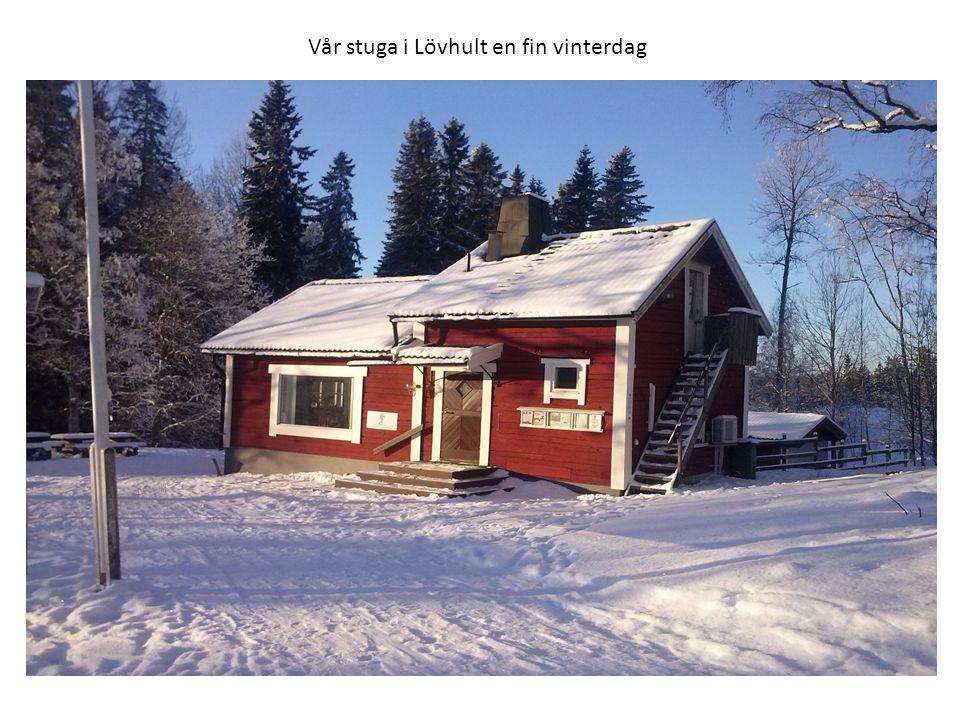 Vår stuga i Lövhult en fin vinterdag