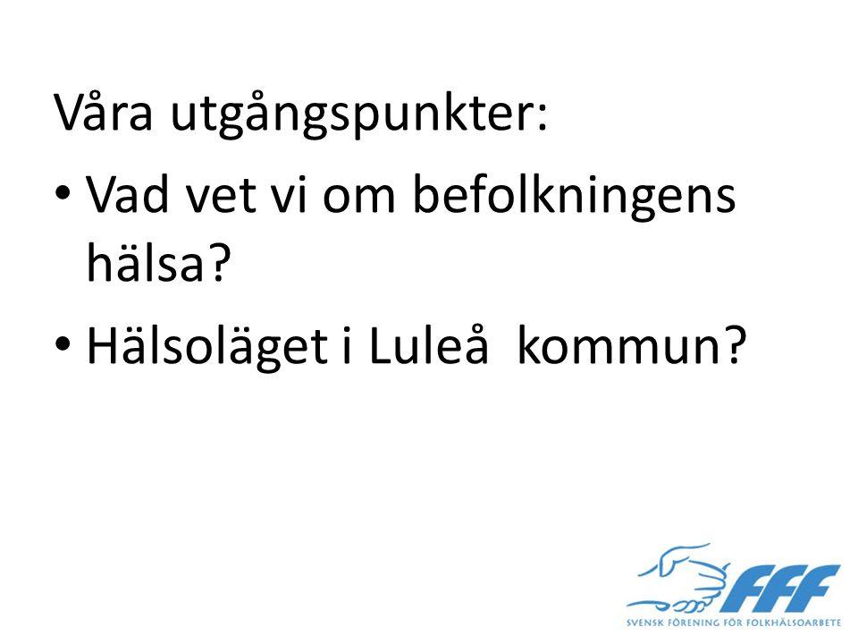 Våra utgångspunkter: Vad vet vi om befolkningens hälsa Hälsoläget i Luleå kommun