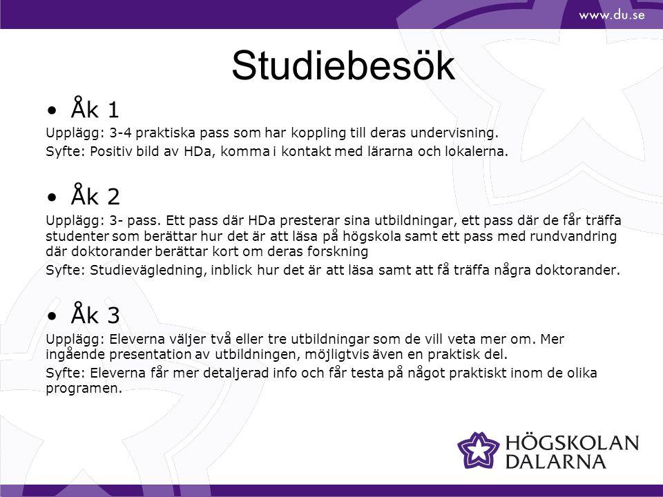 Studiebesök Åk 1. Upplägg: 3-4 praktiska pass som har koppling till deras undervisning.