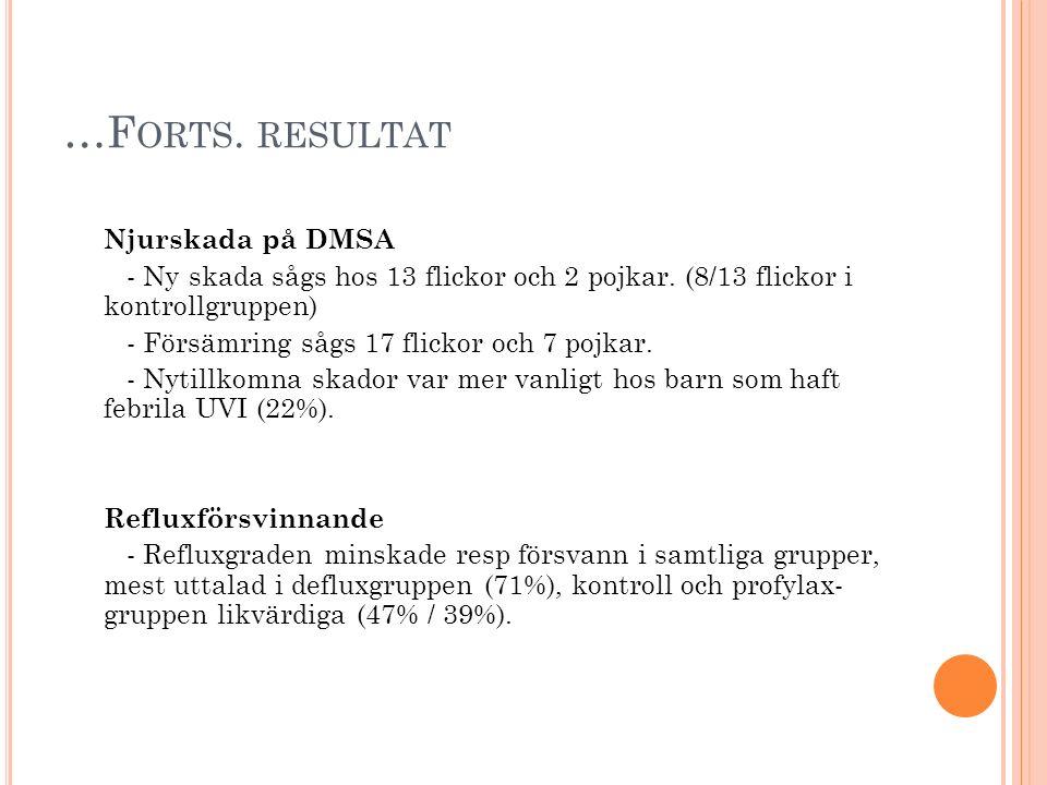 …Forts. resultat Njurskada på DMSA