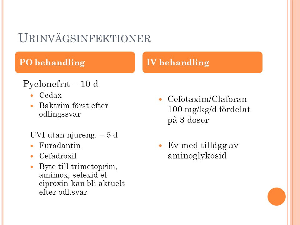 Urinvägsinfektioner Pyelonefrit – 10 d