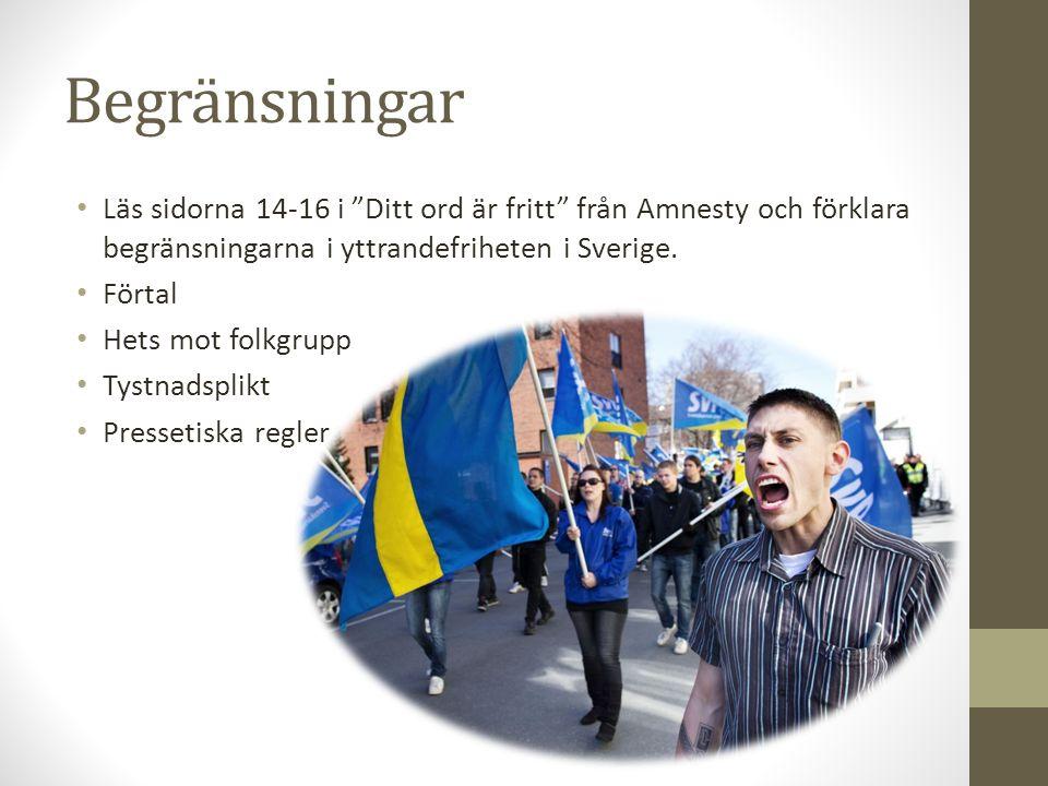 Begränsningar Läs sidorna 14-16 i Ditt ord är fritt från Amnesty och förklara begränsningarna i yttrandefriheten i Sverige.