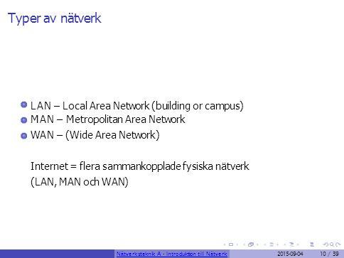Typer av nätverk LAN – Local Area Network (building or campus)