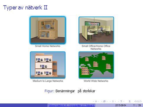 Typer av nätverk II Figur: Benämningar på storlekar