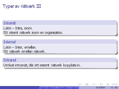 Typer av nätverk III Intranät Internet Extranet Latin – Intra, inom.
