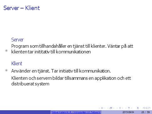 Server – Klient Server Klient