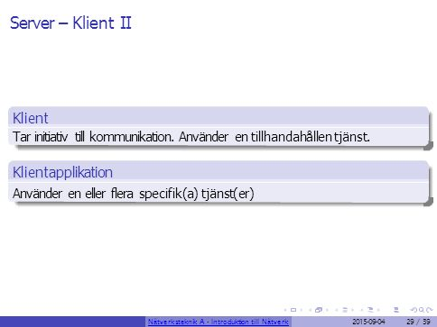 Server – Klient II Klient Klientapplikation
