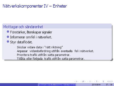 Nätverkskomponenter IV – Enheter