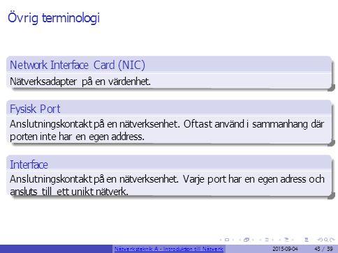 Övrig terminologi Network Interface Card (NIC) Fysisk Port Interface