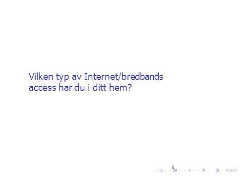 Vilken typ av Internet/bredbands access har du i ditt hem