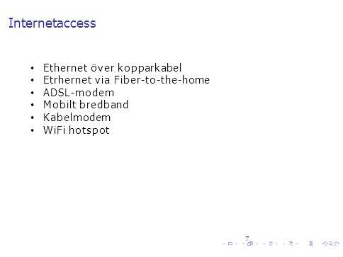 Internetaccess Ethernet över kopparkabel