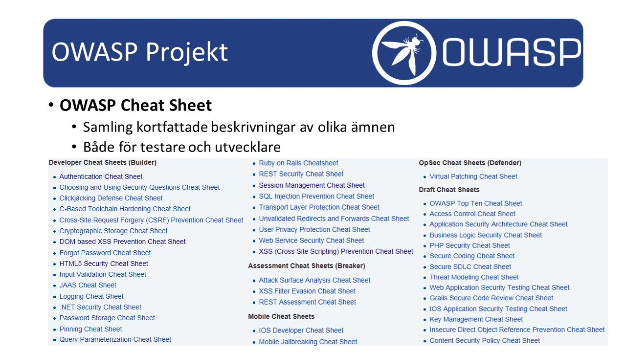 OWASP Projekt OWASP Cheat Sheet