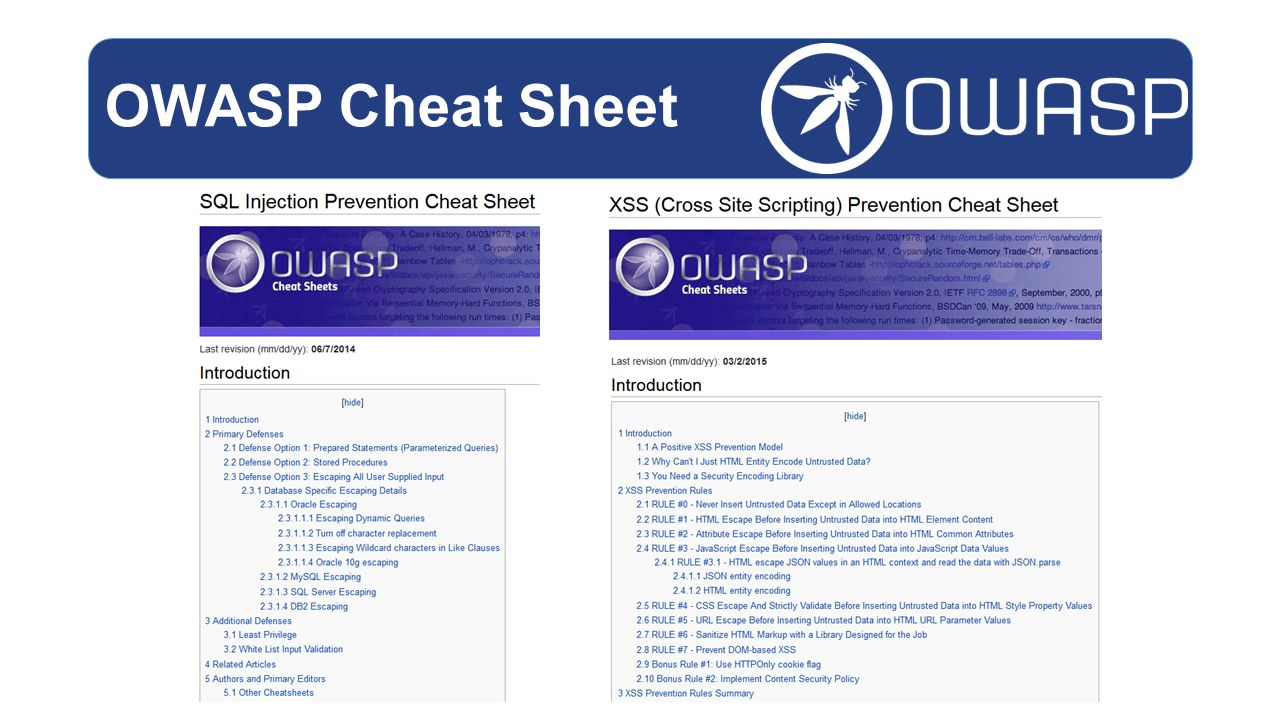 OWASP Cheat Sheet