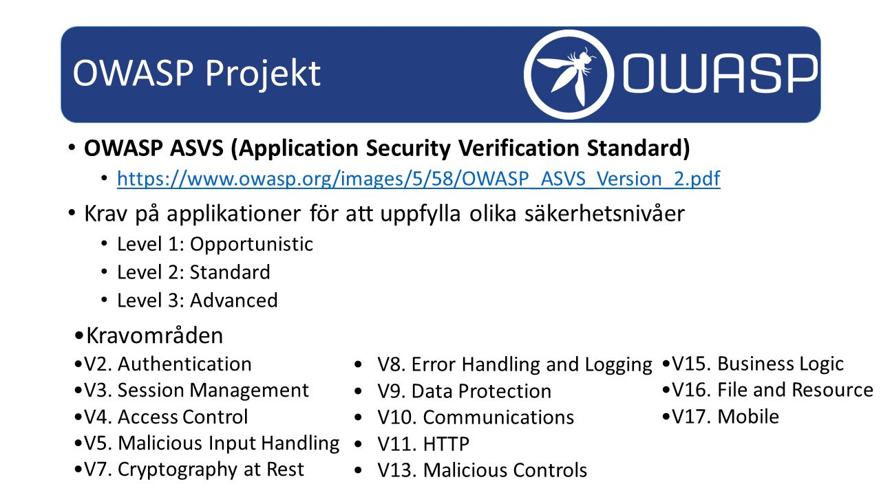 OWASP Projekt OWASP ASVS (Application Security Verification Standard)