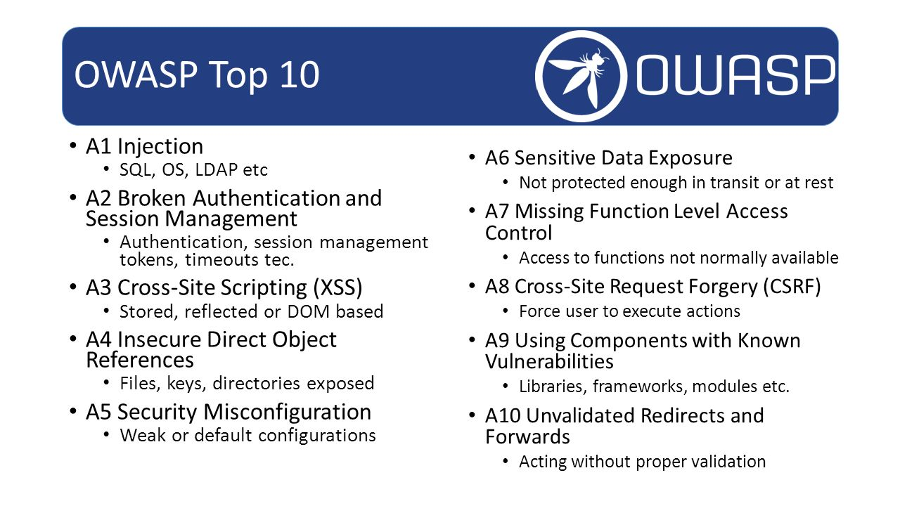 OWASP Top 10 A1 Injection. SQL, OS, LDAP etc. A2 Broken Authentication and Session Management.