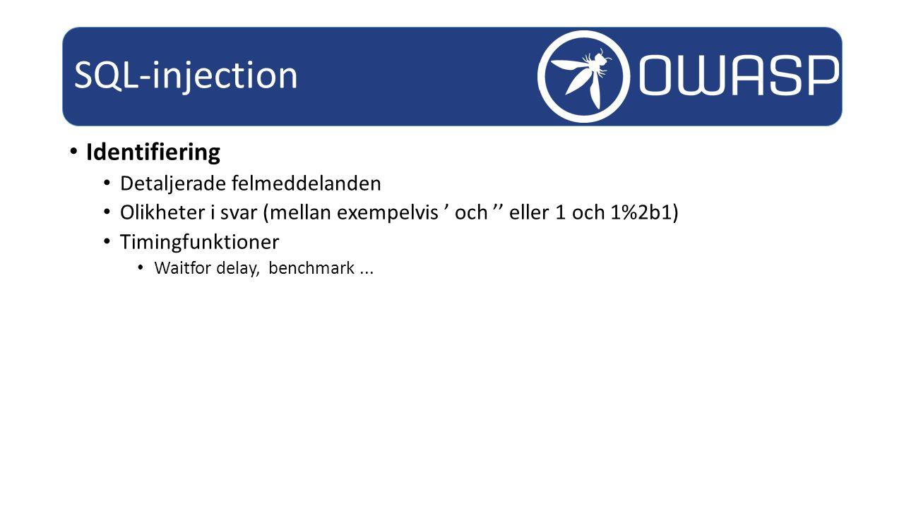 SQL-injection Identifiering Detaljerade felmeddelanden