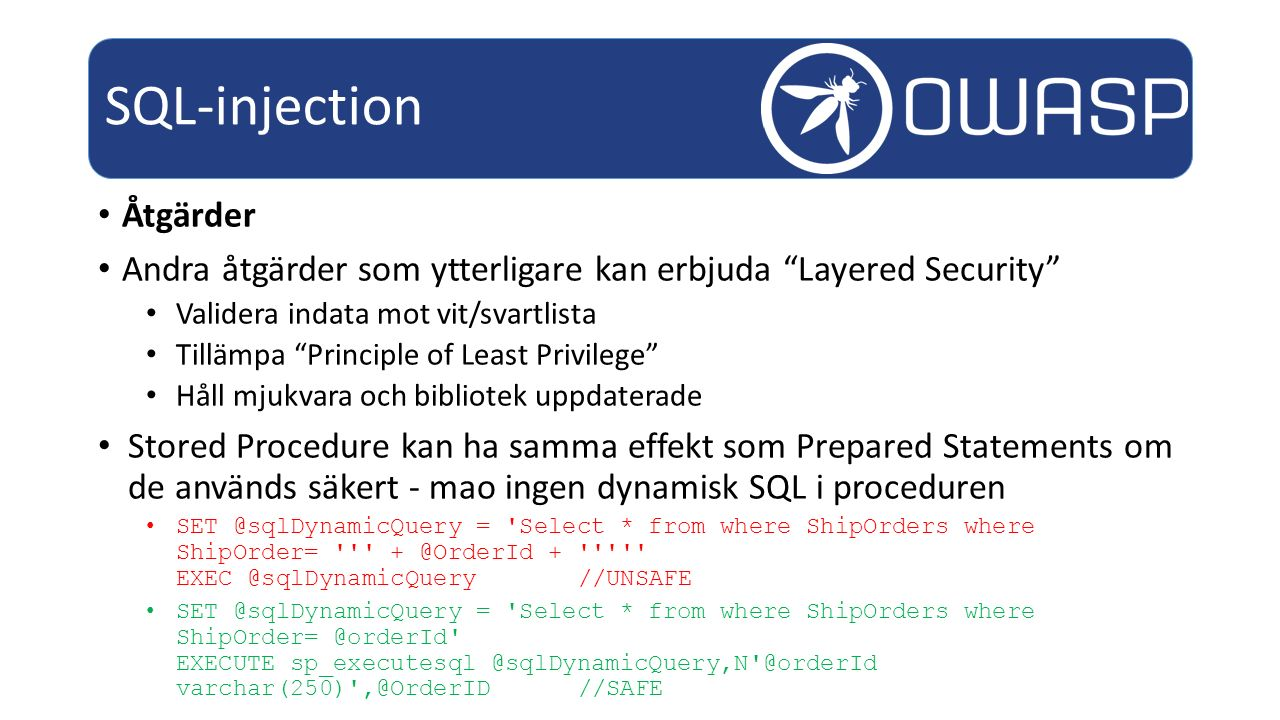 SQL-injection Åtgärder