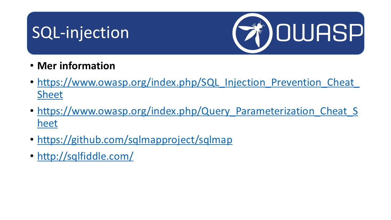SQL-injection Mer information