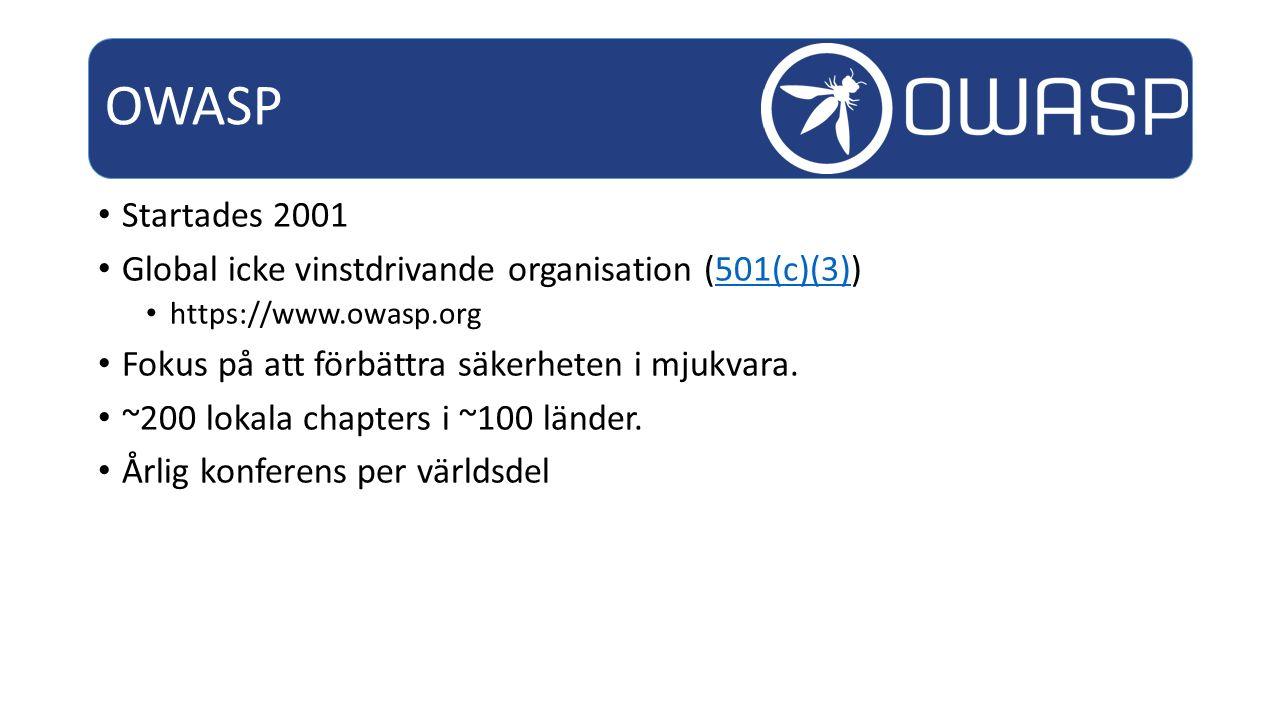 OWASP Startades 2001. Global icke vinstdrivande organisation (501(c)(3)) https://www.owasp.org. Fokus på att förbättra säkerheten i mjukvara.