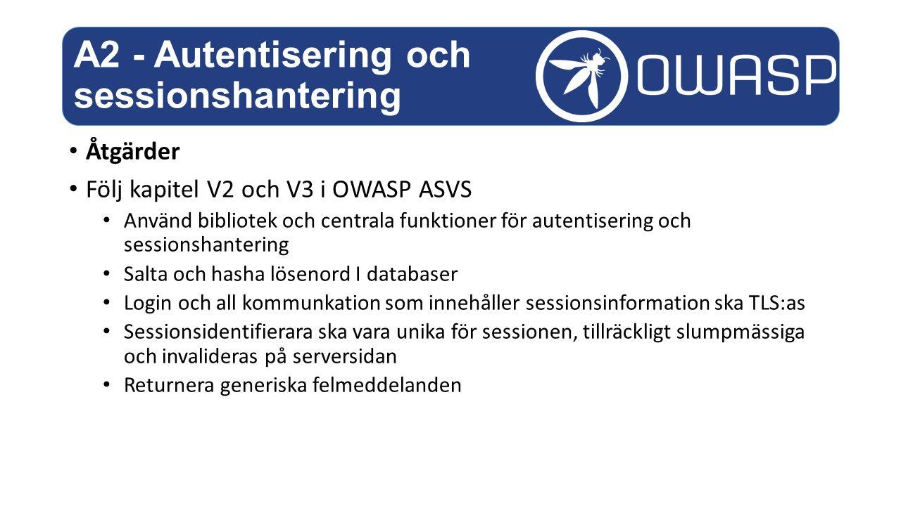 A2 - Autentisering och sessionshantering