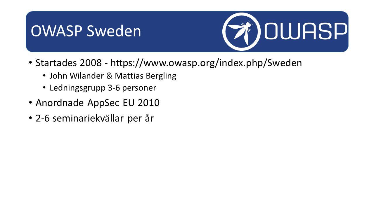 OWASP Sweden Startades 2008 - https://www.owasp.org/index.php/Sweden